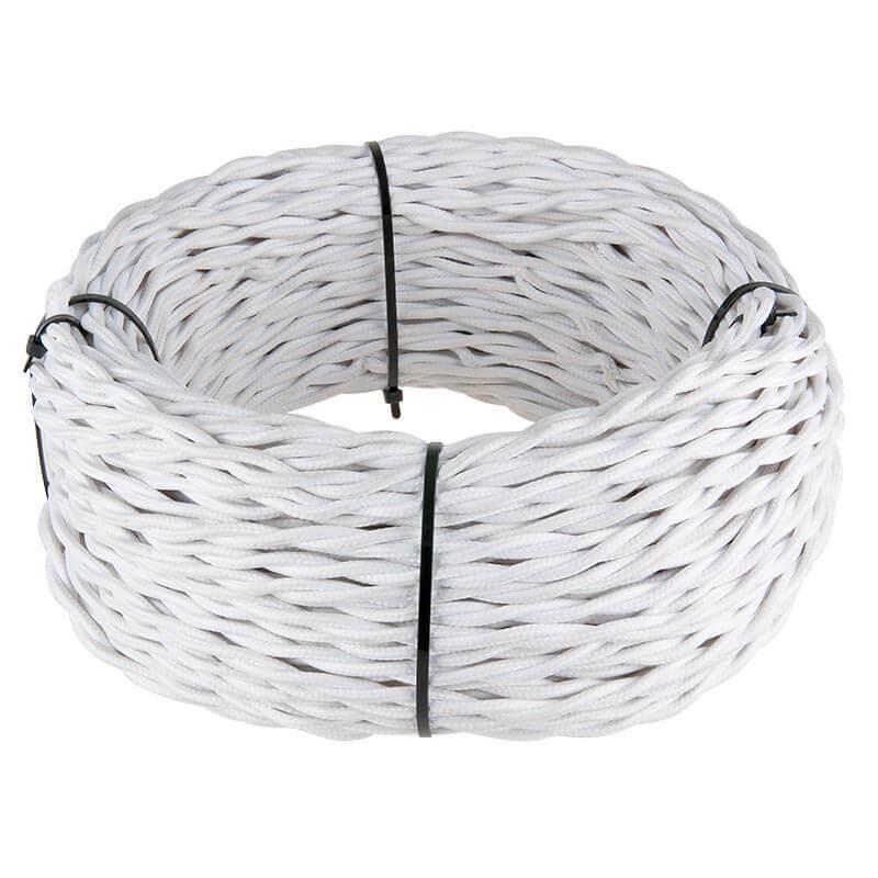 Ретро кабель Werkel витой двухжильный 2,5 мм белый 4690389116759 цена и фото