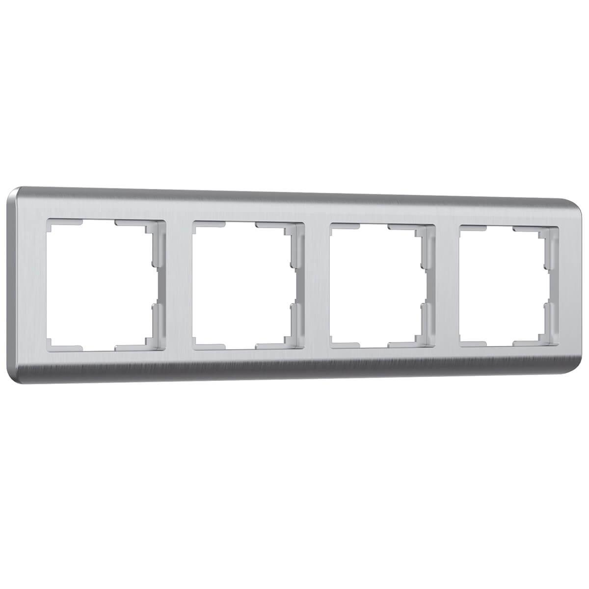 цена Рамка Stream на 4 поста серебряный WL12-Frame-04 4690389076398 онлайн в 2017 году