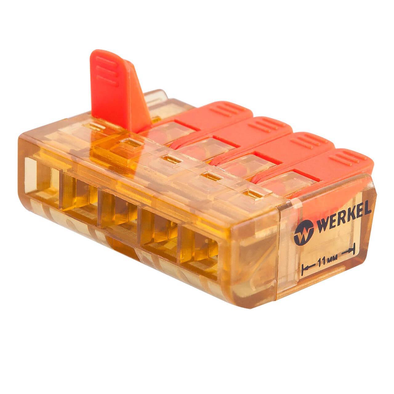 Клемма соединительная Werkel 5-проводная 5 шт TR-02-05 14690389107372 клемма соединительная werkel 3 проводная 5 шт tr 02 02 14690389107358