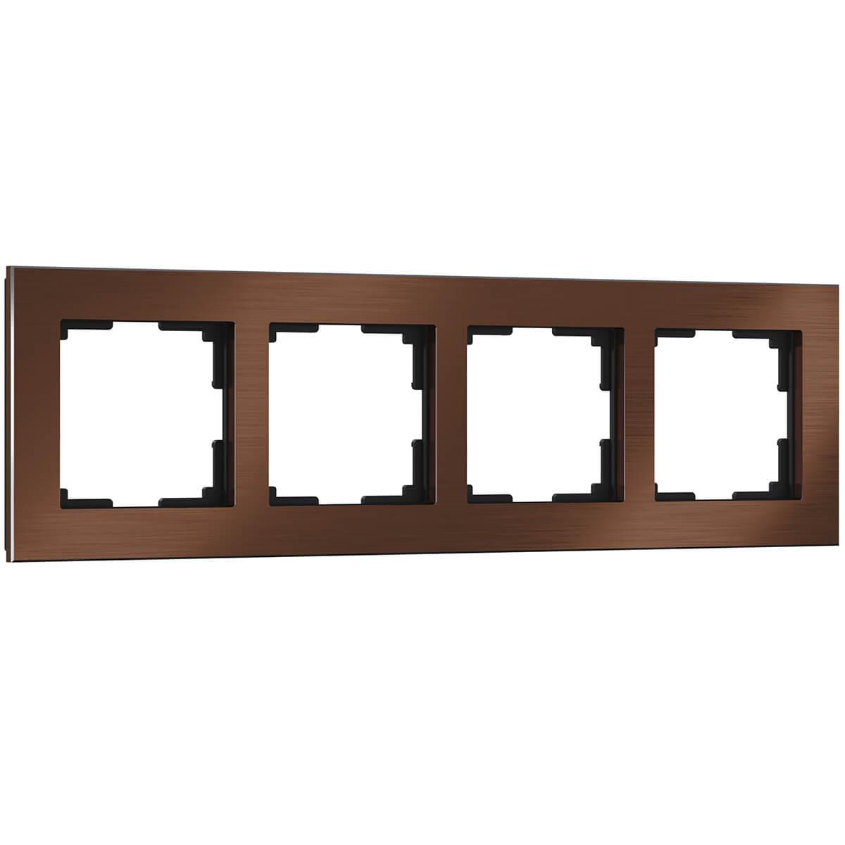 Рамка Aluminium на 4 поста алюминий коричневый WL11-Frame-04 4690389073717 цена