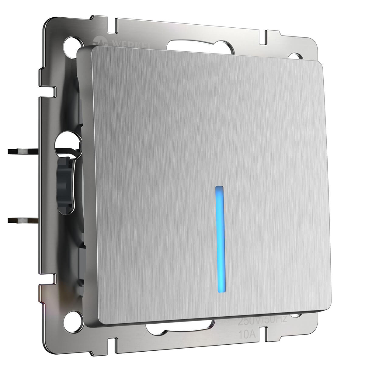 Выключатель одноклавишный проходной с подсветкой серебряный рифленый WL09-SW-1G-2W-LED 4690389085123 все цены