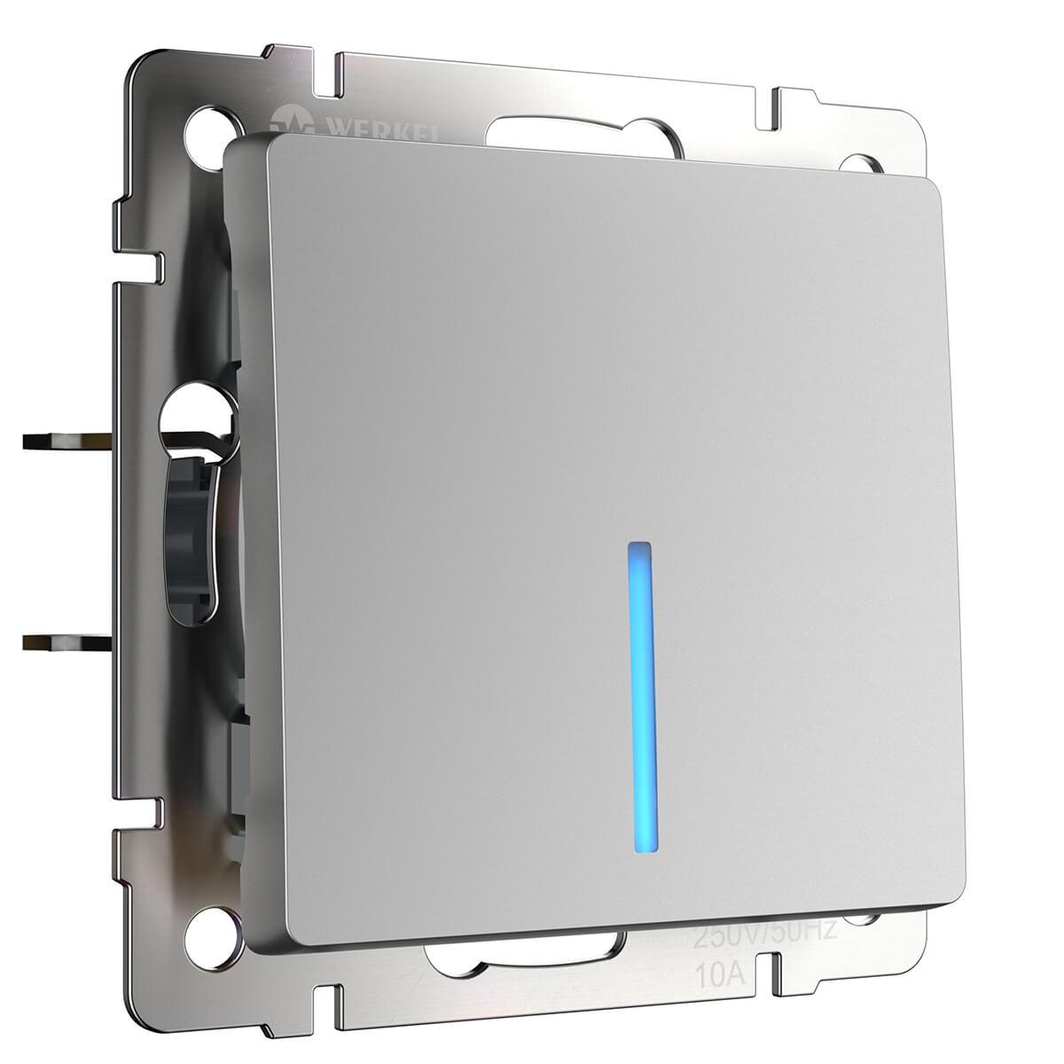 Выключатель Werkel 4690389053863 Серебряный werkel выключатель одноклавишный проходной с подсветкой серебряный wl06 sw 1g 2w led 4690389053863
