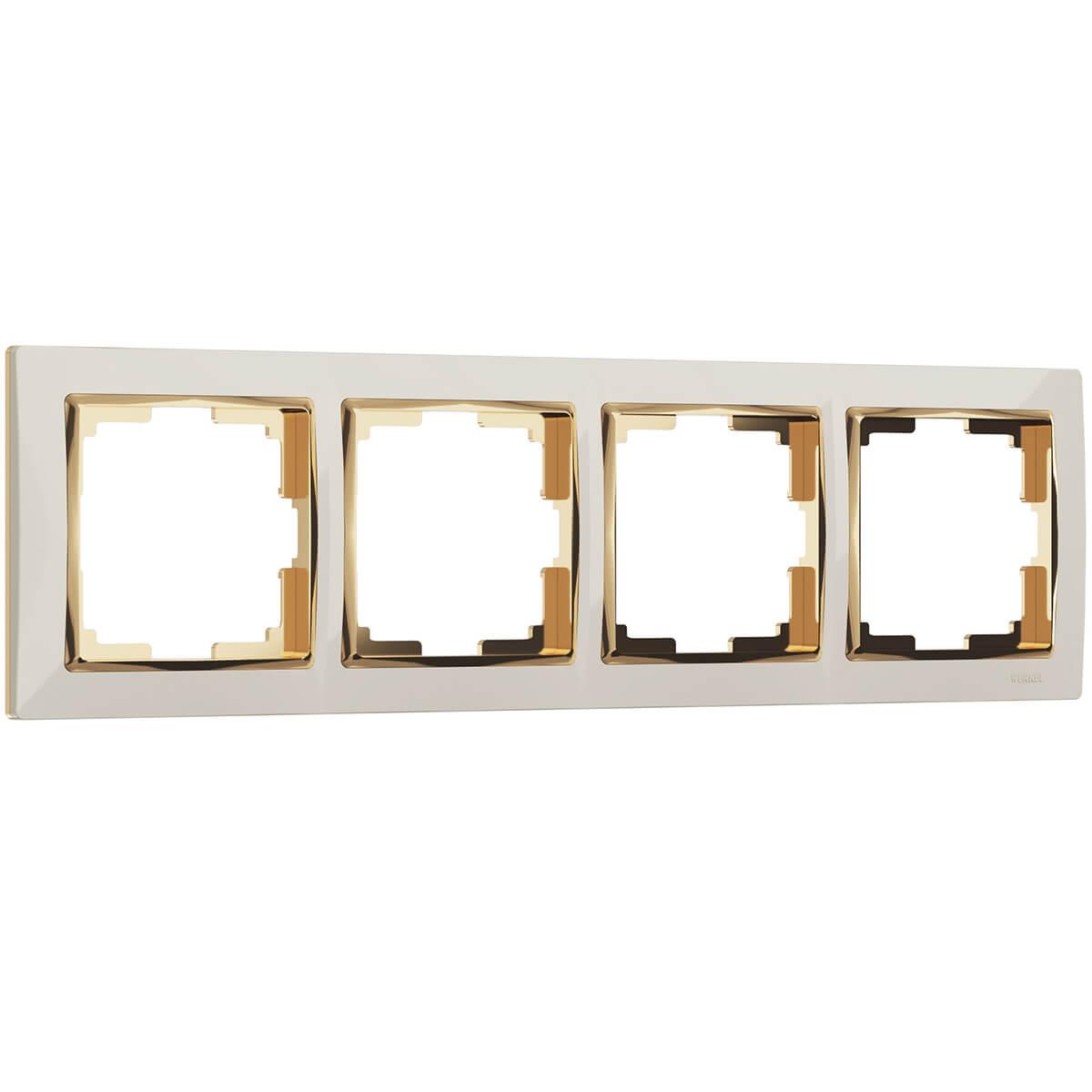 Рамка Snabb на 4 поста слоновая кость/золото WL03-Frame-04-ivory/GD 4690389083914 рамка snabb на 2 поста слоновая кость золото wl03 frame 02 ivory gd 4690389083891