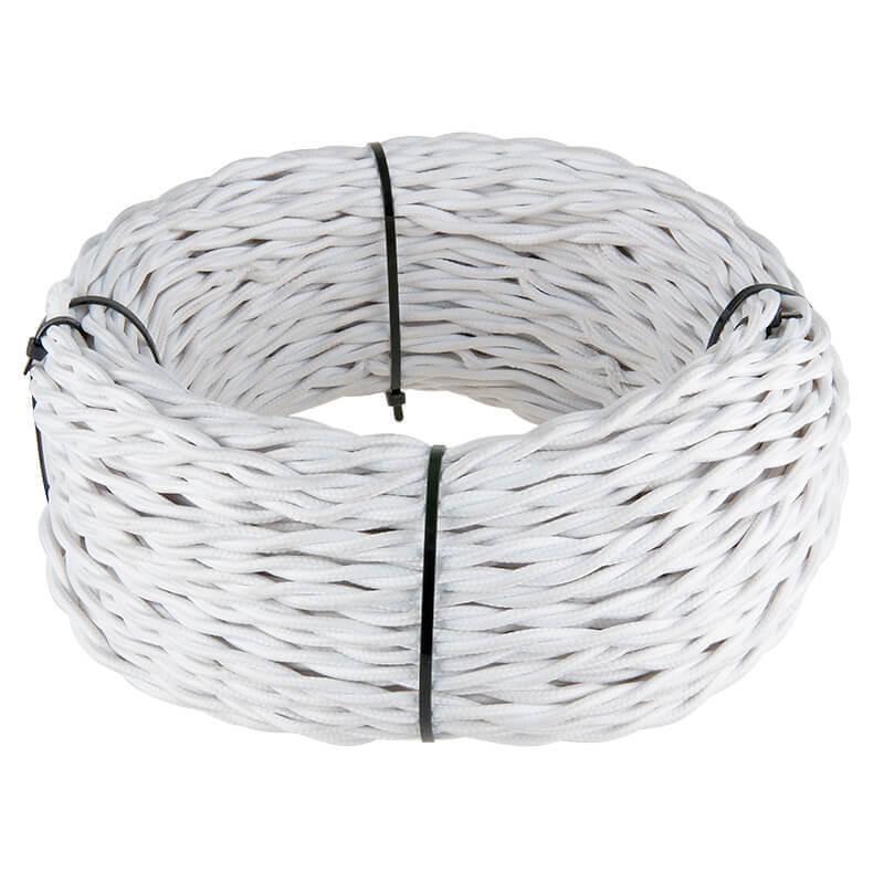 Ретро кабель Werkel витой двухжильный 1,5 мм белый 4690389116728 цена и фото