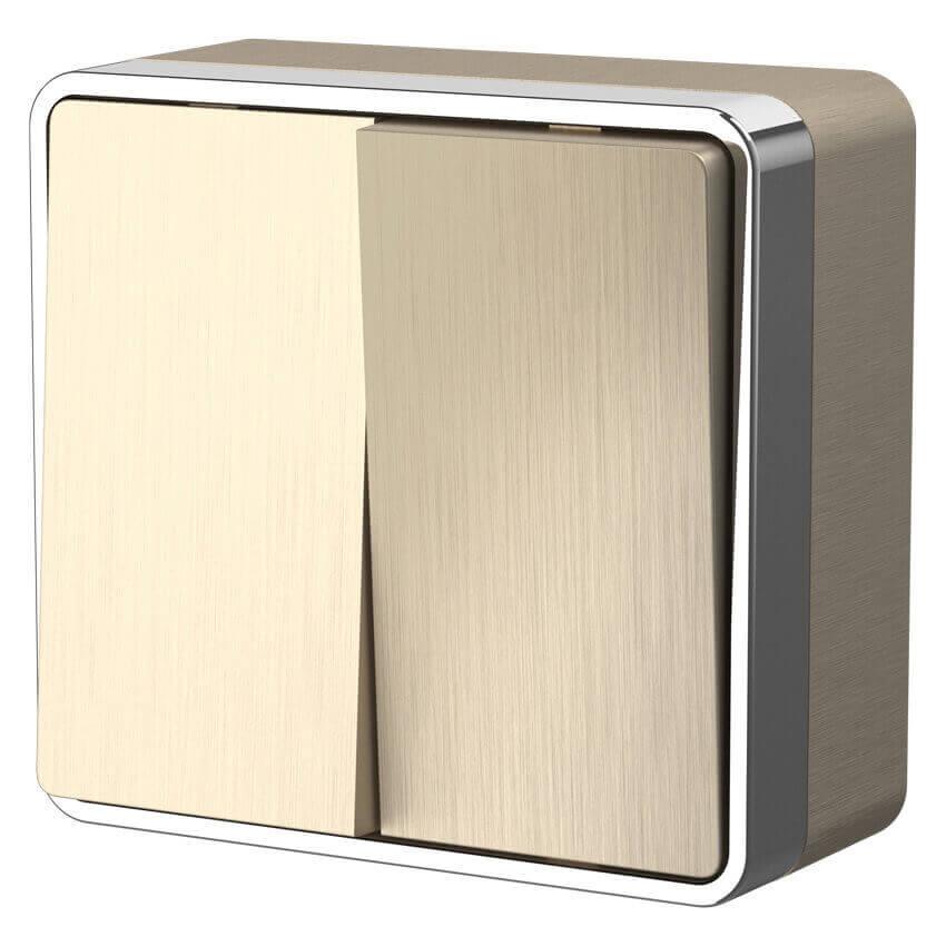 Выключатель двухклавишный Werkel Gallant шампань рифленый WL15-03-01 4690389129667 выключатель для освещения werkel шампань рифленый 4690389085284