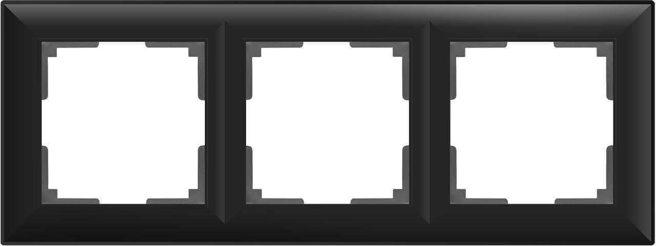 цена Рамка Fiore на 3 поста черный матовый WL14-Frame-03 4690389109140 онлайн в 2017 году