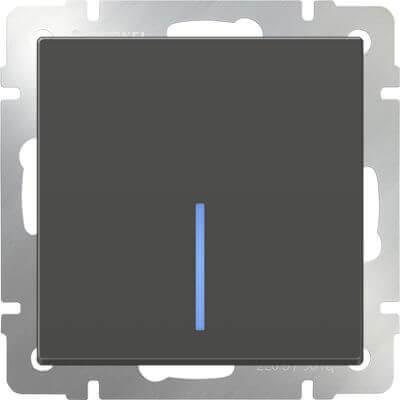 Выключатель одноклавишный проходной с подсветкой серо-коричневый WL07-SW-1G-2W-LED 4690389054020 werkel выключатель одноклавишный серо коричневый werkel wl07 sw 1g 4690389053979