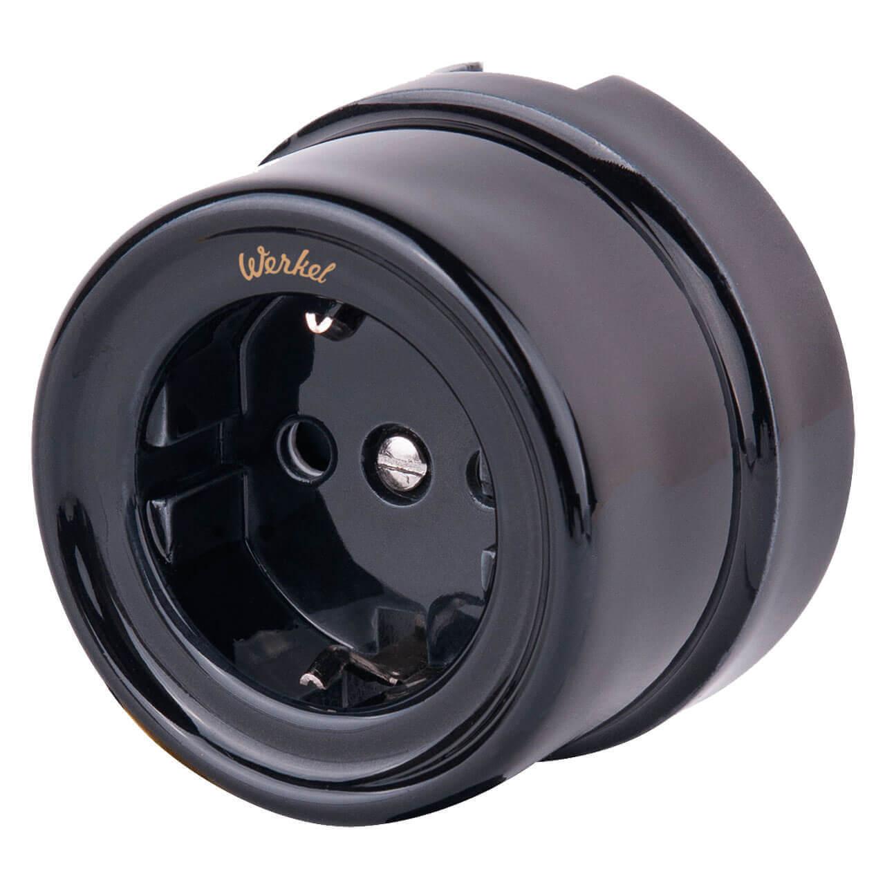 Розетка с заземлением и шторками Retro черная WL18-03-02 4690389100802 цена и фото