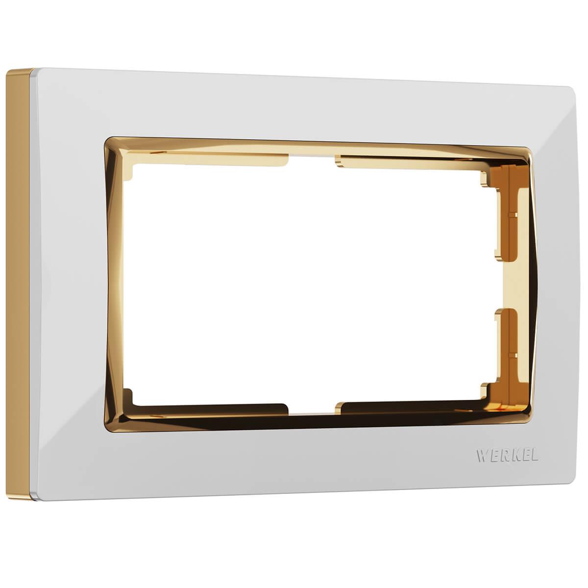 цена на Рамка Snabb для двойной розетки белый/золото WL03-Frame-01-DBL-white/GD 4690389083846