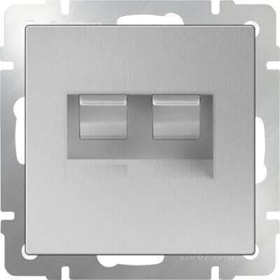 Розетка телефонная RJ-11 и Ethernet RJ-45 серебряный WL06-RJ11+RJ45 4690389053948 розетка телефонная rj 11 werkel antik серебряный wl06 dm600 wl06 rj 11
