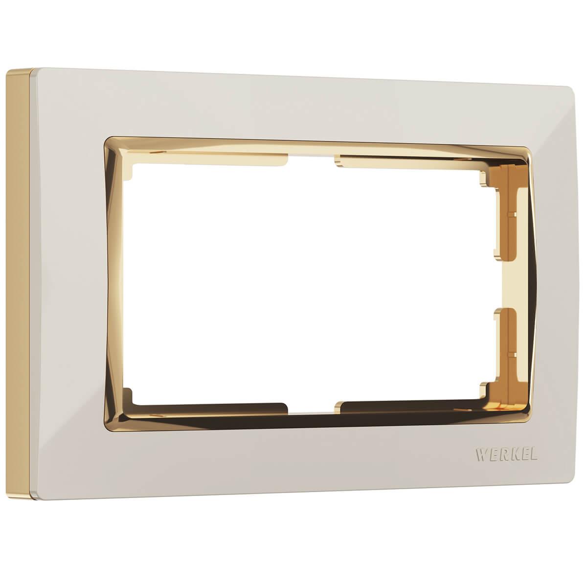 цена на Рамка Snabb для двойной розетки слоновая кость/золото WL03-Frame-01-DBL-ivory/GD 4690389083853