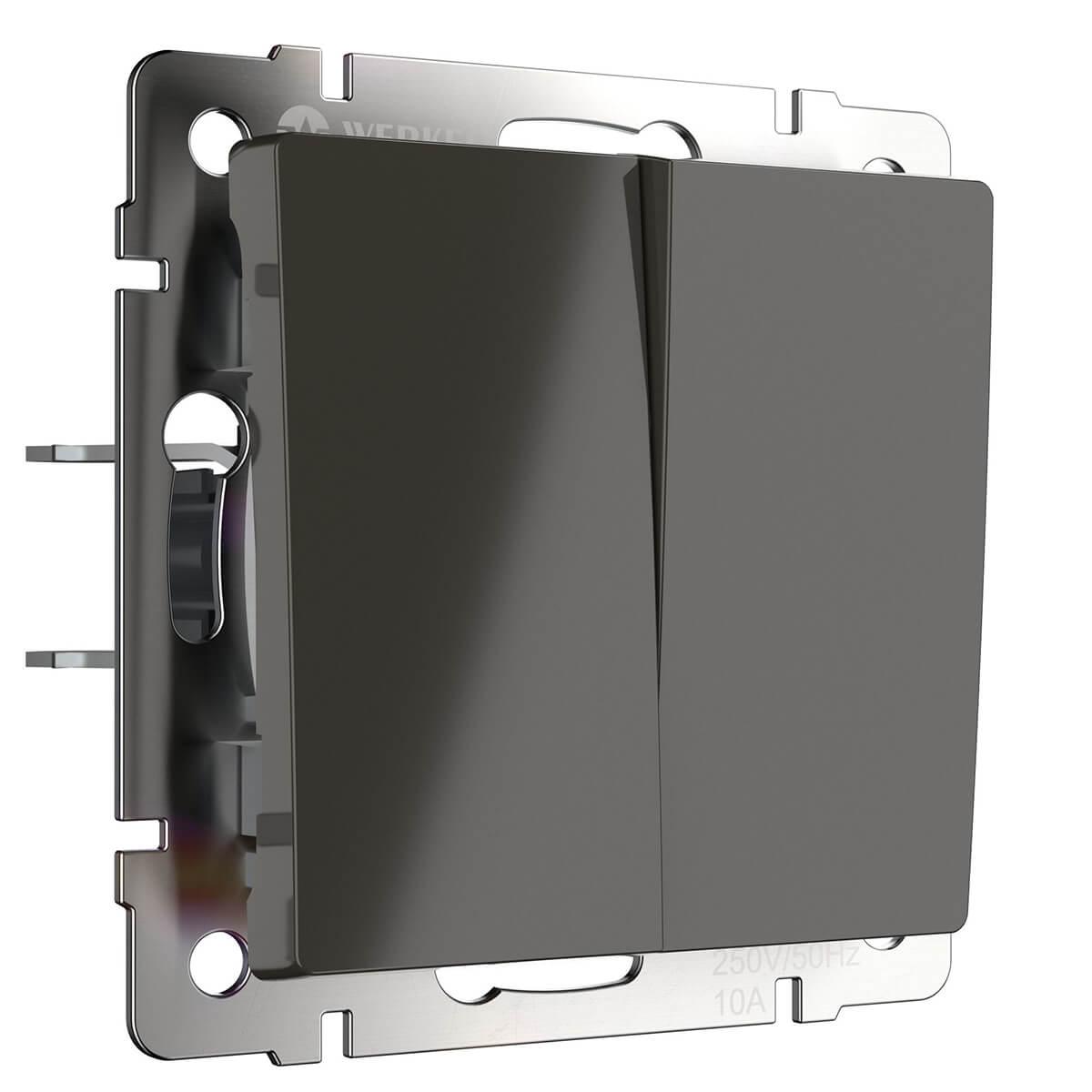 Выключатель двухклавишный серо-коричневый WL07-SW-2G 4690389053993