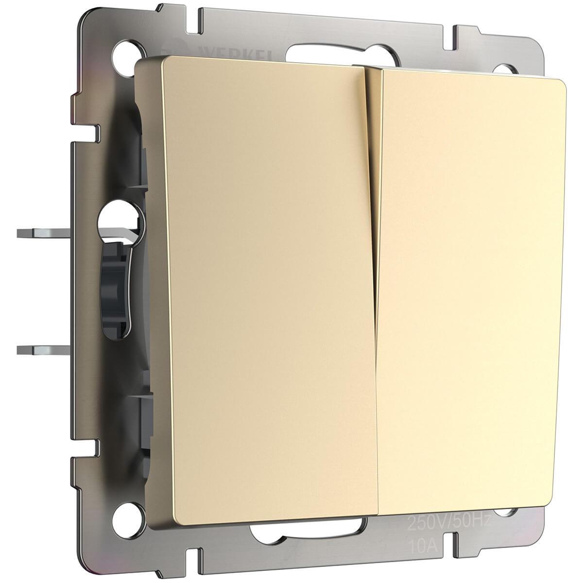 Выключатель двухклавишный проходной шампань WL11-SW-2G-2W 4690389124648 выключатель werkel двухклавишный проходной шампань wl11 sw 2g 2w золотой