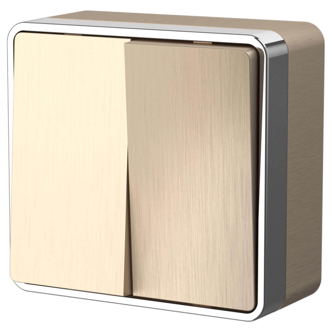 Выключатель двухклавишный влагозащищенный Werkel Gallant шампань рифленый WL15-03-02 4690389129674 выключатель для освещения werkel шампань рифленый 4690389085284